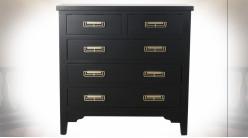 Commode à 6 tiroirs en bois finition noire et poignées de tiroirs dorées ambiance Japonaise, 78cm