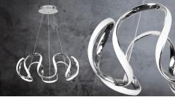 Suspension design épuré, en aluminium finition chromée, noeuds et vagues, éclairage LED, Ø60cm