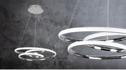 Suspension circulaire design, en aluminum chromé et bande led integrée blanc naturel, Ø48cm