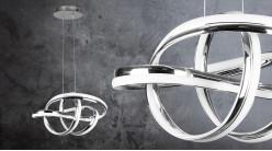 Suspension design en aluminium, finition chromée, forme de noeud lumineux, éclairage led, 48cm