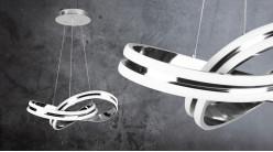 Suspension design en aluminum chromé, forme de noeud lumineux, éclairage bande led, Ø46cm