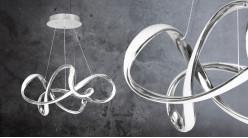 Grande suspension design en aluminum chromé, éclairage bande led lumière naturelle, Ø50cm