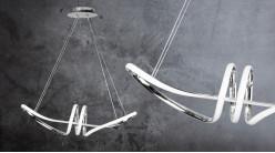 Suspension design en aluminum chromé, forme allongée, bande led eclairage naturel, 74cm
