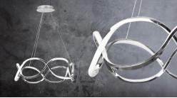 Suspension design en aluminum brossé, effet signe de l'infini, éclairage bande led lumière naturelle, Ø55cm