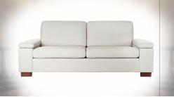 Canapé 2 personnes de style contemporain en polyester et lin finition blanc crème, 210cm