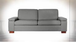 Canapé deux personnes en polyester et lin finition gris clair ambiance contemporaine, 210cm