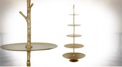 Etagère présentoir en forme de sapin, 5 plateaux ovales, finition doré ancien, 175cm