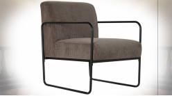 Fauteuil en polyester finition grise et pieds en métal noir de style rétro, 79cm