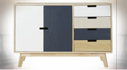 Buffet de style contemporain en bois finition naturelle, façades de portes blanches et bleu marine, 100cm