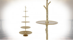 Etagère présentoir en métal doré, cinq plateaux de rangement, forme conique esprit arbre, 122cm