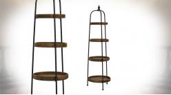 Etagère en bois de métal de quatre niveaux, forme ronde esprit fer forgé, finition charbon et naturel, 167cm