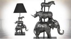 Lampe de salon avec pied en figures d'animaux sauvages, finition vieil argent, abat-jour noir, 65cm