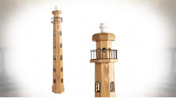 Pied de lampadaire en forme de phare, finition naturelle, ambiance bord de mer, 140cm