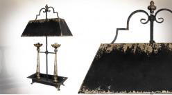 Grande lampe de salon à deux feux, forme de chandelier ancien, finition vieillie, 98cm