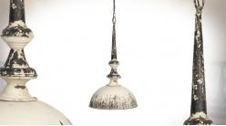 Grande suspension en métal finition oxydée, fond crème antique et reflets charbon, Ø38cm / 70cm