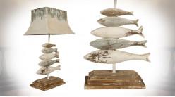 Grande lampe de salon en bois et métal, pied avec sculptures de poissons, abat-jour métal effet vieilli, 75cm