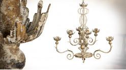 Lustre à huit feux en métal finition crème vieilli, esprit ancien fer forgé, ambiance campagne, Ø66cm / 83cm