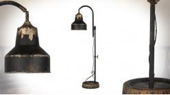 Grande lampe industrielle à poser en métal finition charbon vieilli, hauteur ajustable, 80cm