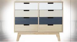 Commode à 8 tiroirs en bois finition naturelle, façades de tiroirs tricolores ambiance contemporaine, 79cm