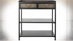 Console en métal noir, 2 tiroirs esprit cannage de rotin finition cuivrée ambiance industrielle rétro, 85cm