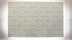 Grand tapis rectangulaire en polyester finition blanc crème et gris ambiance moderne, 290cm
