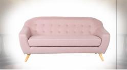 Canapé 3 personnes de style contemporain en polyester finition rose pâle, 172cm