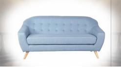 Canapé 3 personnes de style contemporain en polyester finition bleu ciel, 172cm