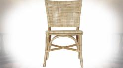 Chaise en bambou et cannage de rotin finition naturelle de style tropical, 93cm
