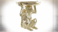 Vide poche original en forme de singe en résine finition dorée ambiance moderne, 39cm