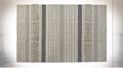 Tapis rectangulaire en coton finition grise et blanc crème de style Boho, 230cm