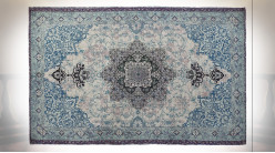 Tapis rectangulaire en polyester finition bleu ciel et blanc crème, motif mandala de style Indien, 230cm