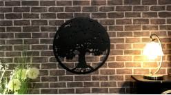 Baobab, décoration d'Arbre de la vie en forme de disque rond, en métal finition noir charbon, collection DMJ, Ø60cm