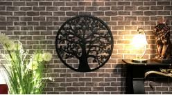Tilleul, décoration d'Arbre de la vie en forme de disque rond, en métal finition noir charbon, collection DMJ, Ø80cm