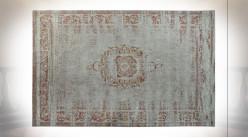 Tapis rectangulaire en coton et polyester finition vieillie de style oriental, 240cm