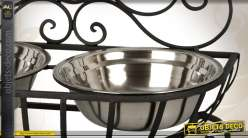Double gamelle en fer forgé et inox pour chiens ou chats