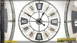 Grande horloge murale en métal de style industriel Ø 60 cm