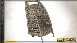Chariot à bûches ouvert en poelet gris et métal