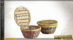 Corbeille à confiseries en bambou et paille