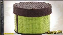 Boîte à confiseries ronde en palmier coloris vert et marron
