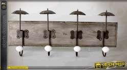 Portemanteaux mural bois et métal avec petits parapluies