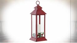 Lanterne de Noël en métal rouge avec grande bougie LED 39 cm