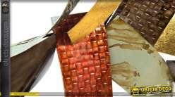 Grande décoration murale en lames de métal style industriel 113 cm