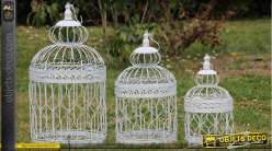 Lot de 3 cages oiseaux d coratives for Cages a oiseaux decoratives