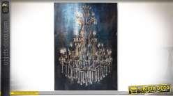 Peinture d'un grand lustre à pampilles de style Empire