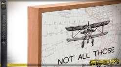 Série de deux cadres en bois sur le thème du voyage et avion des années 30