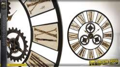 Grande horloge murale Swiss Legend de 79cm en métal noir brossé