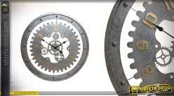 Grande horloge Industrial Vibes en métal gris 76 cm et chiffres laiton dorés