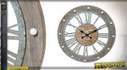 Horloge murale lumineuse en bois style flotté et métal 68 cm