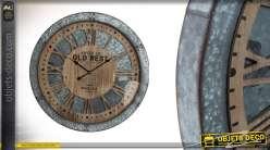 Horloge murale Bodega Design- American Old West en bois et métal de 60cm