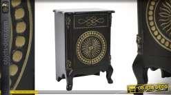 Table de chevet style ethnico-barroque noir et doré ancien 2 portes